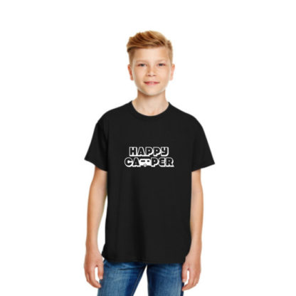 Happy Camper Kids Tshirt in Black