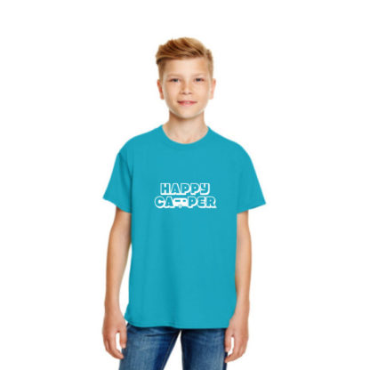 Happy Camper Kids Tshirt in Caribbean Blue