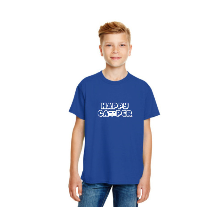 Happy Camper Kids Tshirt in Royal Blue