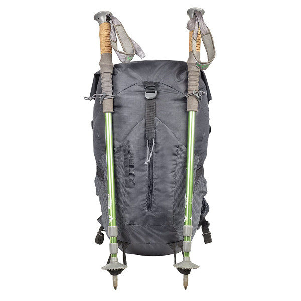 Kelty Ruckus Roll Top Backpack w trekking poles in Dark Shadow