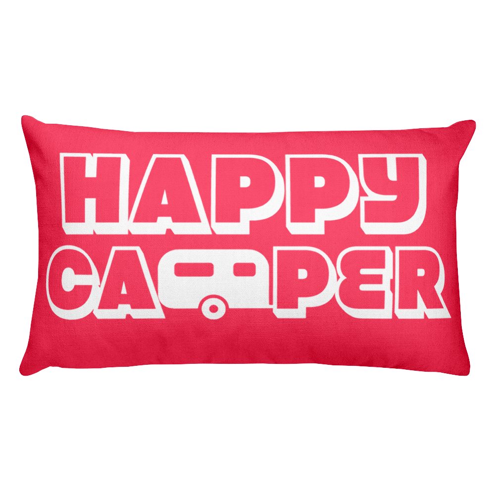 Happy Camper Rectangular Pillow in Cotton Candy Pink