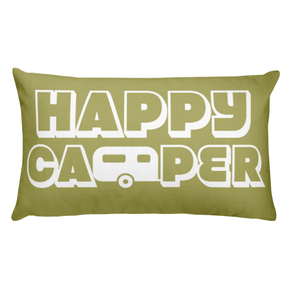 Happy Camper Rectangular Pillow in Green with Envy