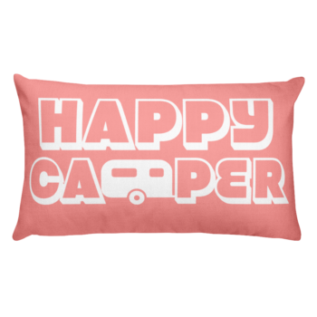 Happy Camper Rectangular Pillow in Pretty in Pink