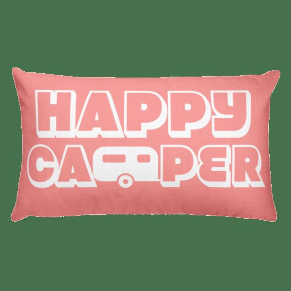 Happy Camper Rectangular Pillow in Pretty in Pink