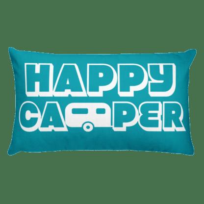 Happy Camper Rectangular Pillow in Seaside Blue