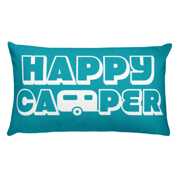 Happy Camper Rectangular Pillow in Seaside Blue