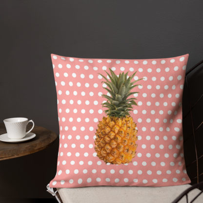 Pineapple and Polka Dots Pillow cafe style in Pretty in Pink