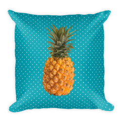Pineapple and Polka Dots Pillow in Seaside Blue