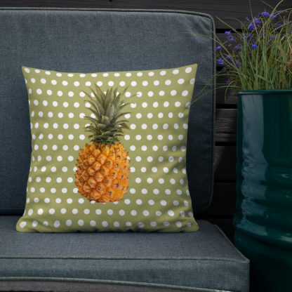 Pineapple and Polka Dots Pillow on the deck in Green with Envy