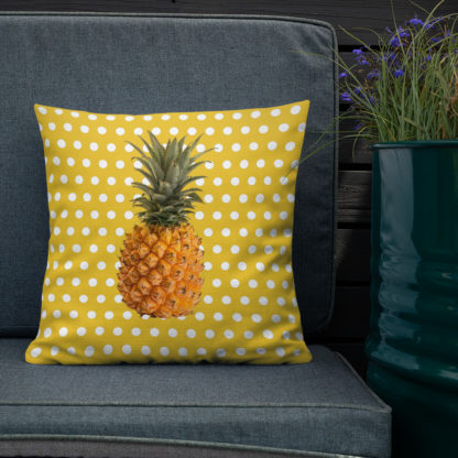 Pineapple and Polka Dots Pillow on the deck in Sunshine