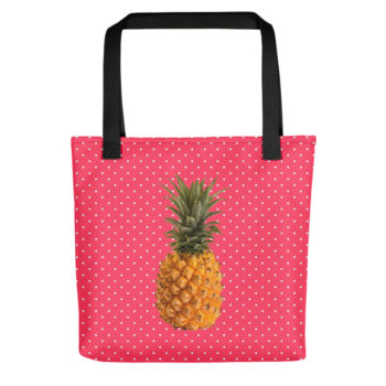 Pineapple and Polka Dots Tote in Cotton Candy Pink