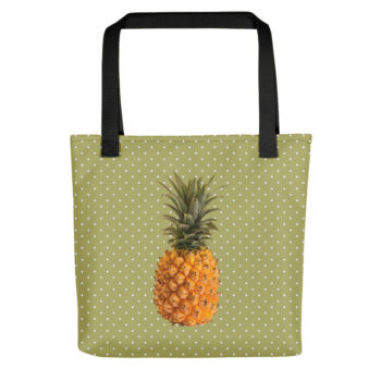 Pineapple and Polka Dots Tote in Green with Envy