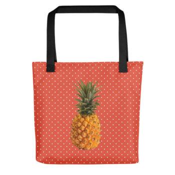 Pineapple and Polka Dots Tote in Orange Glo