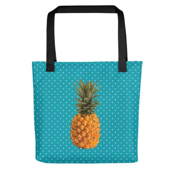 Pineapple and Polka Dots Tote in Seaside Blue