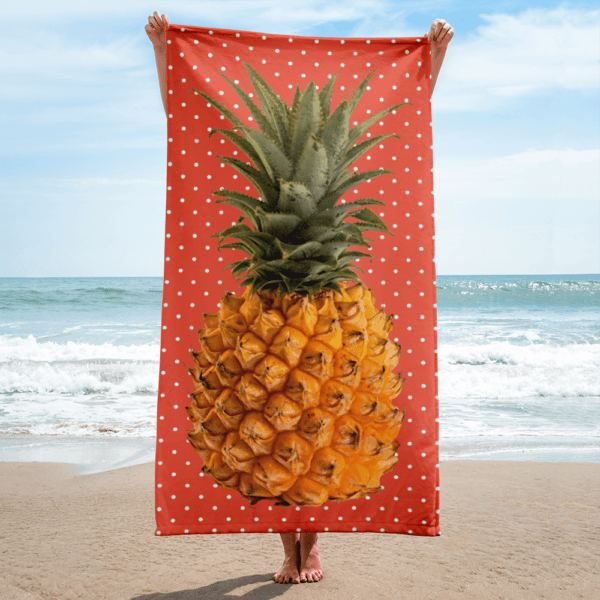 Pineapple and Polka Dots Beach Blanket in Orange Glo