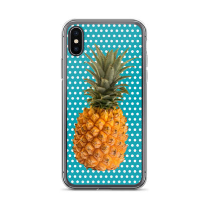 Pineapple and Polka Dots iPhone X case in Seaside Blue