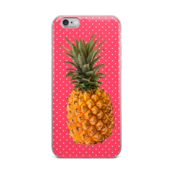 Pineapple and Polka Dots iPhone case in Cotton Candy Pink