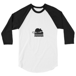 River Rat Baseball Jersey in White with black sleeves