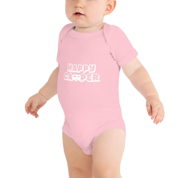 Happy Camper Baby Short Sleeve Onesie in Pink and White on baby