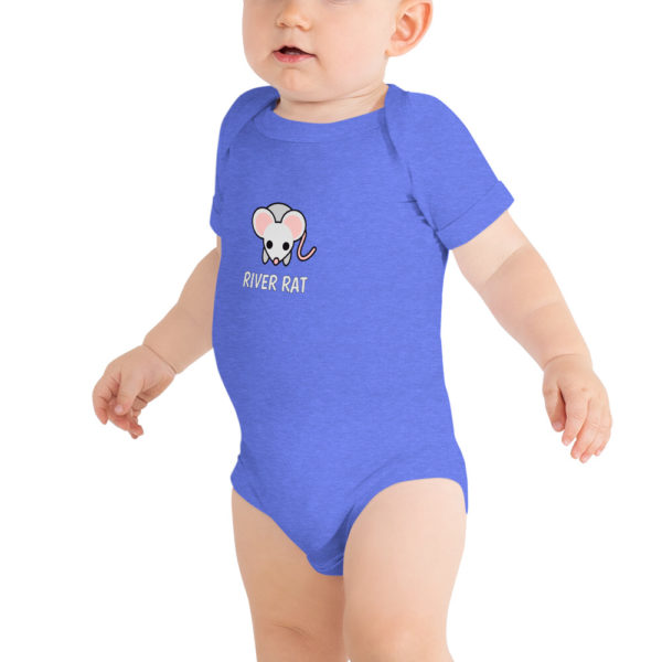 River Rat Baby Short Sleeve Onesie in Heather Blue on model