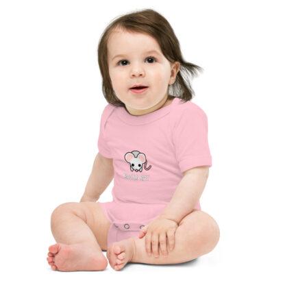 River Rat Baby Short Sleeve Onesie in Pink