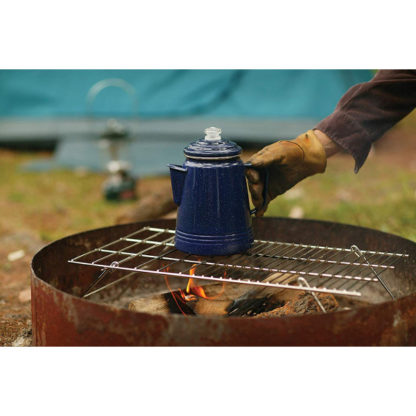 Coleman Enamelware Percolator on the grill