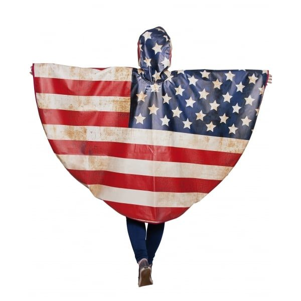 FieldCandy American Flag Unisex Rain Poncho back view