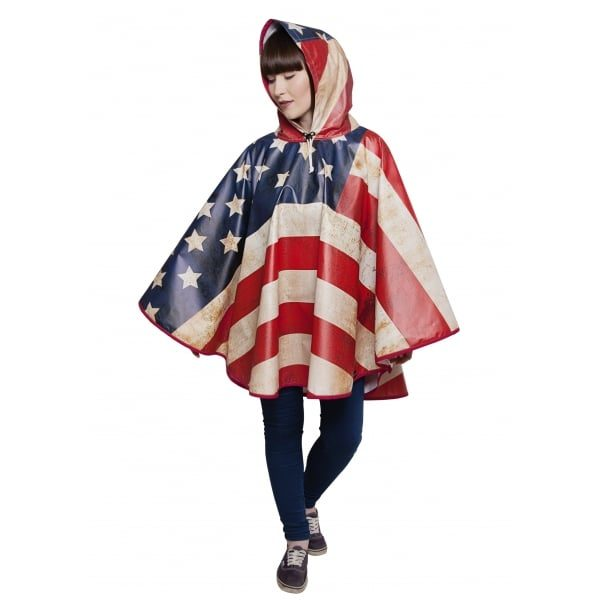 FieldCandy American Flag Unisex Rain Poncho hood up