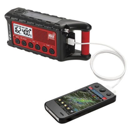 Midland Emergency Crank Weather Radio charging station