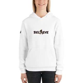 Believe Unisex Fleece Hoodie in White
