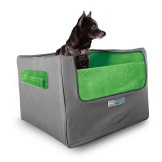 Kurgo Skybox Rear Booster Seat for Dogs in Grass Green and Charcoal