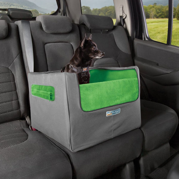 Kurgo Skybox Rear Booster Seat for Dogs in backseat