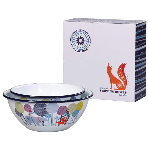 Wild & Wolf Folklore Enamel Day Design Serving Bowls