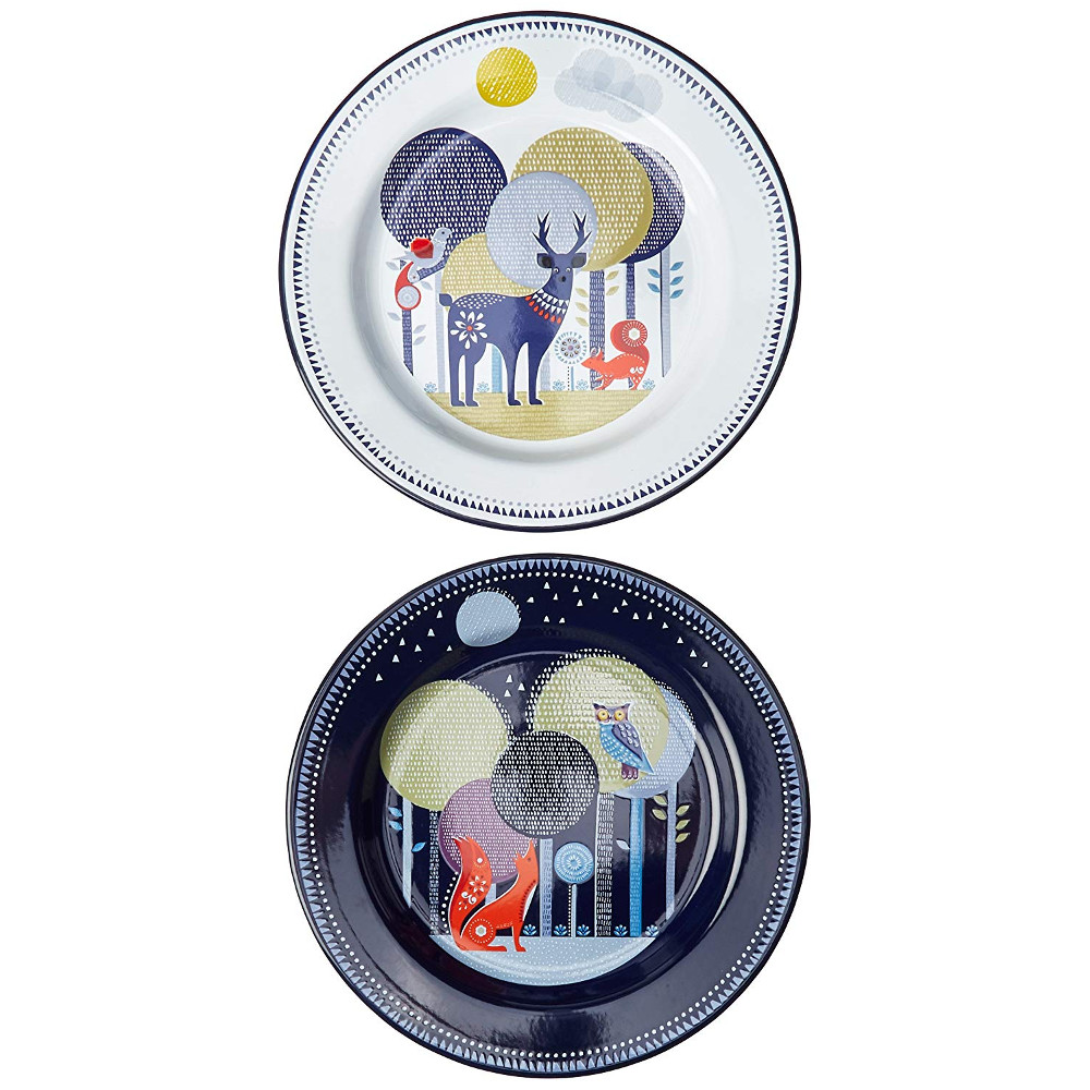 Wild & Wolf Folklore Enamel Day and Night Design Dinner Plate Set