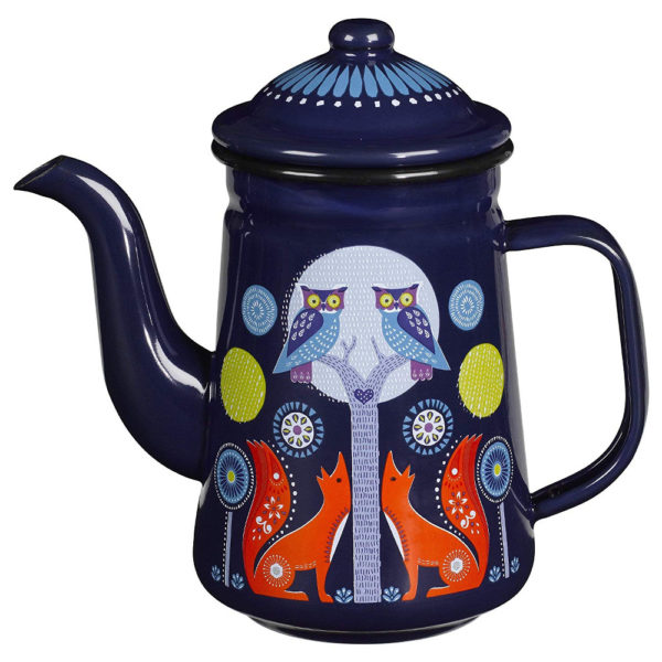 Wild & Wolf Folklore Enamel Blue Night Design Coffee Pot