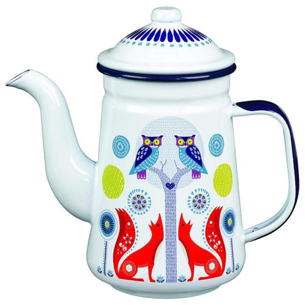 Wild & Wolf Folklore Enamel White Day Design Coffee Pot