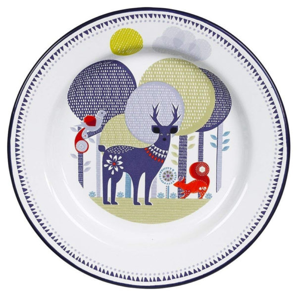 Wild & Wolf Folklore Enamel White Day Design Dinner Plate