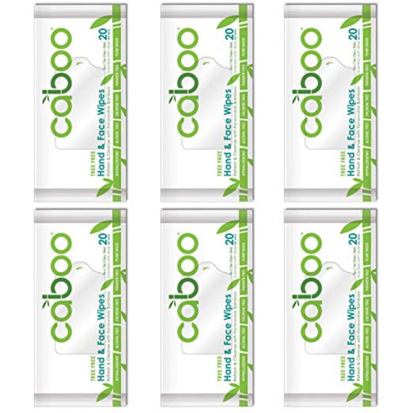 Caboo Tree-Free Bamboo Hand and Face Wipes 6 travel packs