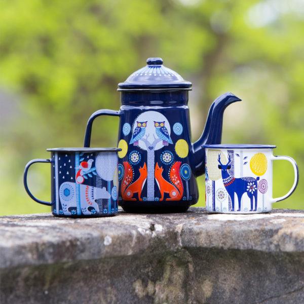 Wild & Wolf Folklore Enamel White Day Design Coffee Mug with coffee pot