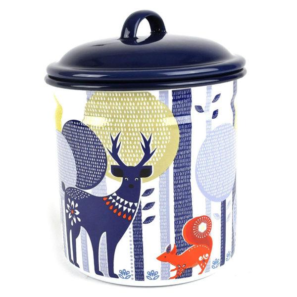 Wild & Wolf Folklore Enamel White Day Design Storage Pot