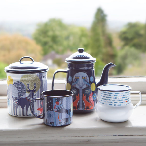Wild & Wolf Folklore Enamel White Day Design Storage Pot set