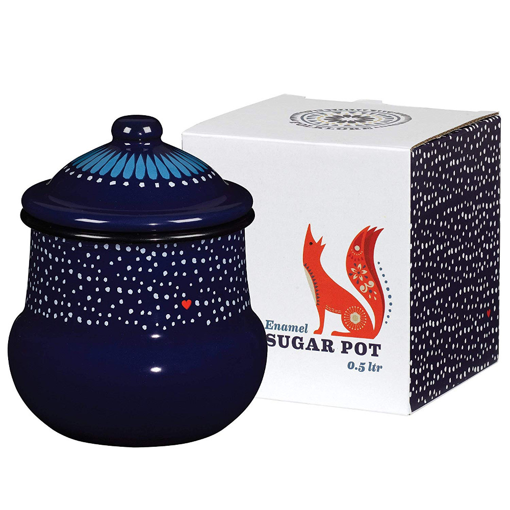 Wild and Wolf Folklore Enamel Blue Night Design Sugar Pot