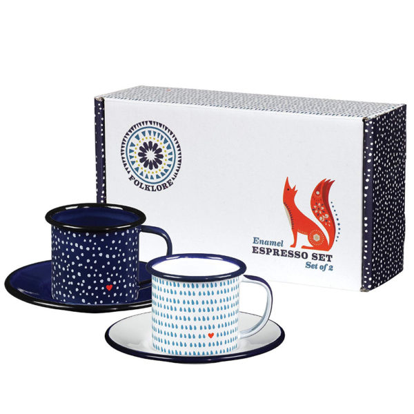 Wild and Wolf Folklore Enamel Seasons Design Espresso Cups