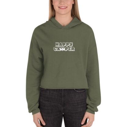 Happy Camper Fleece Crop Hoodie in Military Green