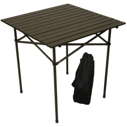Table in a Bag Tall Aluminum Portable Table in Brown