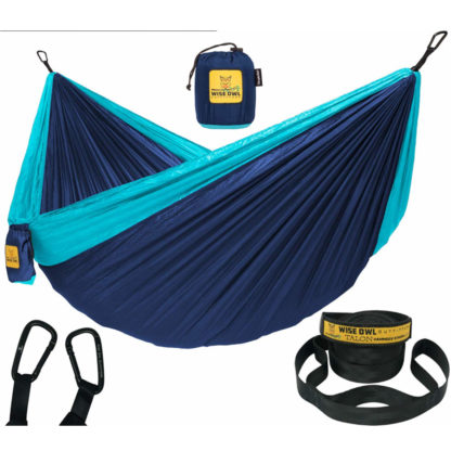 Wise Owl Outfitters Hammock in Navy Blue and Light Blue