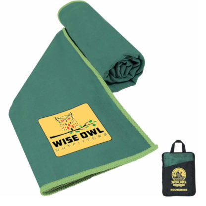 Wise Owl Outfitters Microfiber Camping Towel in Green