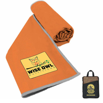 Wise Owl Outfitters Microfiber Camping Towel in Orange