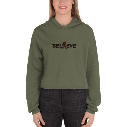 Believe Fleece Crop Hoodie in Military Green