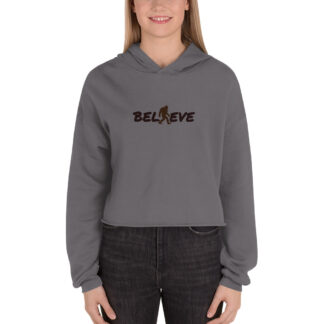 Believe Fleece Crop Hoodie in Storm
